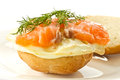 Sandwich with egg and salted salmon Stock Photography