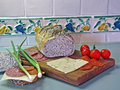 Sandwich fixings with Mexican Tile background Royalty Free Stock Photo