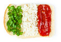 Sandwich with a flag of the Italy Stock Photo