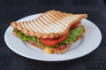 Sandwich grilled with melting cheese tomato and lettuce on wholewheat bread Stock Photo