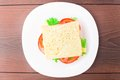 Sandwich with ham cheese and tomato on a plate Royalty Free Stock Photography