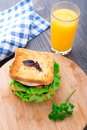 Sandwich with ham cheese tomatoes and lettuce salad on toasted bread Royalty Free Stock Image