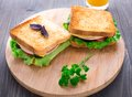 Sandwich with ham cheese tomatoes and lettuce salad on toasted bread Royalty Free Stock Photos