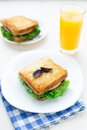 Sandwich with ham cheese tomatoes and lettuce salad on toasted bread Stock Image