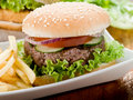 Sandwich with hamburger and fried Royalty Free Stock Photo
