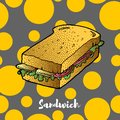 Sandwich hand drawing sketch. Great for restaurant menu or banner Royalty Free Stock Photo
