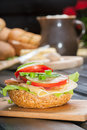 Sandwich healthy with cucumber lettuce and tomato Stock Images