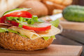 Sandwich healthy with cucumber lettuce and tomato Stock Image