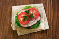 Sandwich with a hum and tomatoes Royalty Free Stock Photo