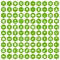 100 sandwich icons hexagon green