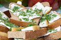 Sandwich with lard fresh bread and dill Stock Image