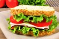 Sandwich with meat tomato lettuce and cheese on whole grain bread Stock Photography