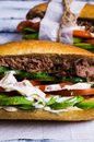 Sandwich with meat and vegetables Royalty Free Stock Photo