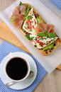 Sandwich with mozzarella and jamon Royalty Free Stock Photo