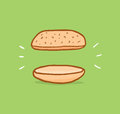 Sandwich of nothing or really strict diet cartoon illustration two breads with between them Stock Photography