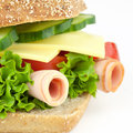 Sandwich occupied bread with sausage and cheese Royalty Free Stock Photography
