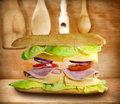 Sandwich on old vintage wooden boards Stock Images