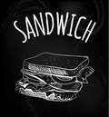 Sandwich outline drawing on chalkboard background. VECTOR sketch. Chalk drawings.