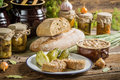 Sandwich in the pantry from the winter stocks on old wooden table Stock Image