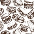 Fast food restaurant background. Seamless pattern with hand drawn burgers, tacos, sandwiches, waffles, bagles sketches. Vintage il