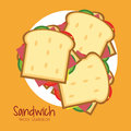 Sandwich plate bread lunch snack icon