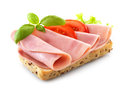 Sandwich with pork ham on white background Royalty Free Stock Photography