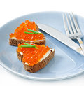 Sandwich with red caviar in the form of a heart Royalty Free Stock Images