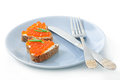 Sandwich with red caviar in the form of a heart Stock Images