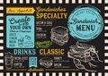 Sandwich menu restaurant, food template. Royalty Free Stock Photo