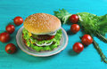 Sandwich on a round bun with sesame seeds Royalty Free Stock Photo