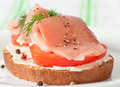 Sandwich with salmon Stock Photo