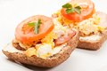Sandwich with scrambled eggs and bacon selective focus Stock Photography