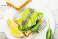 Sandwich  of slices  fresh white bread toast with Royalty Free Stock Photo