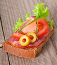 Sandwich with  smoked bacon Royalty Free Stock Photo