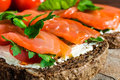 Sandwich with smoked salmon, cheese, tomatoes and herbs Royalty Free Stock Photo