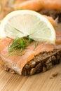 Sandwich with smoked salmon Royalty Free Stock Photo