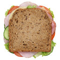 Sandwich toast bread for breakfast with ham top view isolated Royalty Free Stock Photo