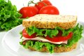 Sandwich on a white plate with ham tomato lettuce and cheese Stock Images