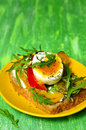 Sandwich from whole grain bread with feta vegetables and egg Royalty Free Stock Photography