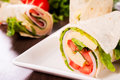 Sandwich wrap selective focus on the front Stock Photography
