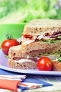 Sandwiches with bacon, lettuce and tomato Stock Images