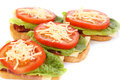 Sandwiches with bacon lettuce tomato and cheese Stock Image