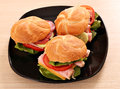 Sandwiches on black dish fast food Stock Images