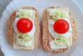 Sandwiches cherry tomato close up Stock Photo