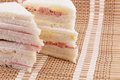Sandwiches close up view exquisite white bread stacked Stock Images