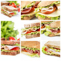 Sandwiches collage a of sandwich photos Royalty Free Stock Photography