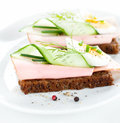 Sandwiches with egg ham cucumber and chives on white plate healthy fresh dietetic Royalty Free Stock Images