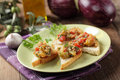 Sandwiches with eggplant caviar open on a plate Royalty Free Stock Photography