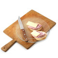 Sandwiches with ham and chees on plate Royalty Free Stock Photo