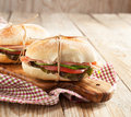 Sandwiches with mortadella and vegetables two Royalty Free Stock Photo
